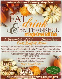 Eat Drink & Be Thankful at Eagle Creek Golf Club @ The Belfry Restaurant | Orlando | Florida | United States