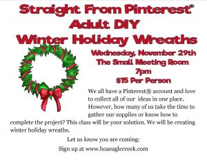Straight From Pinterest®: Winter Holiday Wreaths @ Small Meeting Room  | Orlando | Florida | United States